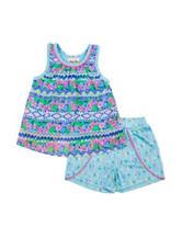 Little Lass 2-pc. Multicolor Print Top & Shorts Set - Baby 12-24 Mos.