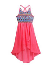 Emily West Hi-Lo Aztec Print Chiffon Dress - Girls 7-16