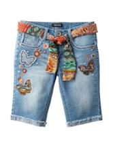 Squeeze Embroidered Bermuda Shorts - Girls 7-14
