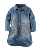 Carters® Medium Wash Denim Belted Dress – Girls 4-8