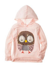 Love, Peace & Lip Gloss Sequin Owl Print Hoodie Top – Girls 4-6x