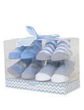 Baby Essentials 4-pk. Elephant Chevron Print Socks