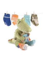 Baby Aspen Croc-In-Socks Plush & Baby Socks Gift Set - Baby 0-6 Mos.