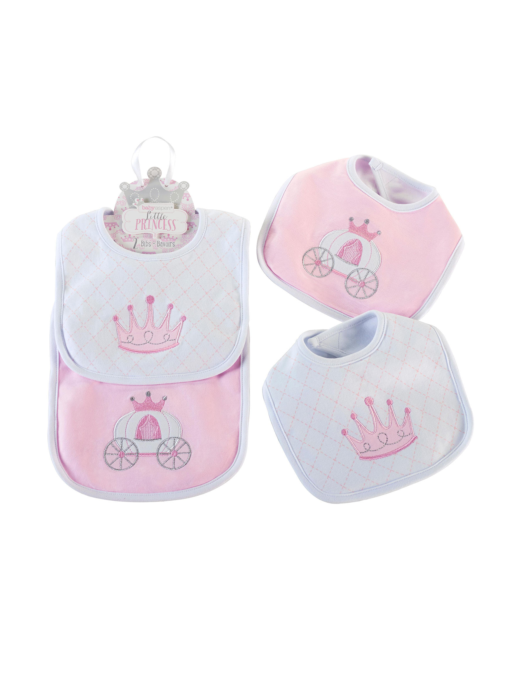 Baby Aspen Pink / White Bibs & Burp Cloths