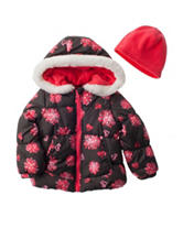 London Fog Floral Print Coat with Beanie - Toddler & Girls 4-6x