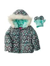 London Fog Heart Puffer Coat with Mittens - Toddler & Girls 4-6x