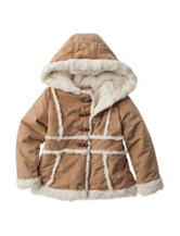 Pistachio Faux-Suede Shearling Coat - Toddler & Girls 4-6x