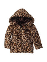 Pistachio Animal Print Faux-fur Coat - Toddler & Girls 4-6x