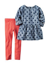 Carter's® 2-pc. Chambray Dotted Top & Leggings Set - Toddler Girls