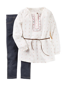 Carters® 2-pc. Embroidered Poplin Top & Leggings Set - Girls 4-8