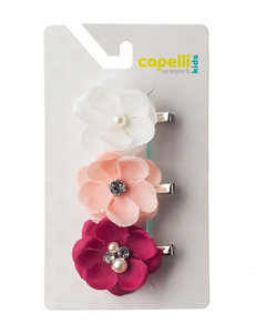 Capelli 3-pk. Flower Pearl Center Clips