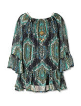 Speechless Aztec Print Chiffon Top with Necklace - Girls 7-16