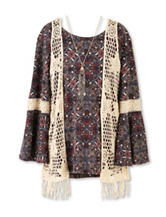 Speechless Paisley Print Top & Crochet Vest Set with Necklace - Girls 7-16