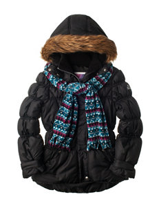 Pink Platinum Black Puffer Coat with Scarf - Girls 7-16