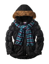 Pink Platinum Black Puffer Coat with Scarf - Girls 7-16