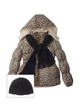 Pink Platinum Cheetah Print Puffer Coat - Girls 7-16