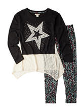 One Step Up 2-pc. Star Top & Animal Print Leggings Set - Girls 7-16