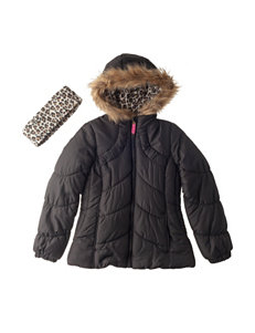 London Fog Black Puffer & Quilted Jackets