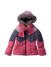 London Fog Color Block Puffer Coat with Scarf - Girls 7-16