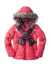 London Fog Puffer Jacket with Scarf – Girls 7-16