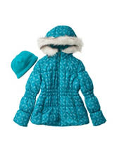 London Fog Floral Tile Print Puffer Coat with Beanie - Girls 7-14