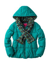 London Fog Puffer Jacket with Scarf – Girls 7-16