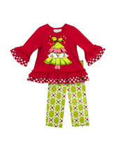 Rare Editions 2-pc. Christmas Tree Top &  Leggings Set - Baby 3-9 Mos.