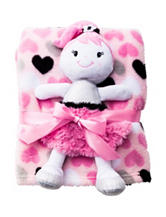 Baby Gear 2-pc. Sparkle Doll Buddy & Heart Print Blanket