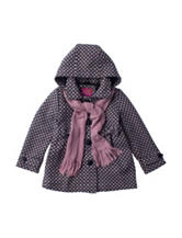 Pink Platinum Cream Printed Faux-Wool Coat with Scarf - Toddler & Girls 4-6x