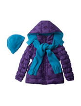 Pink Platinum Puffer Print Coat with Beanie & Scarf - Toddler & Girls 4-6x