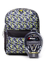 Lime Pop Digital Camo Backpack with Headphones