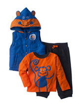 Boys Rock 3-pc. Monkey Puffer Vest & Pants Set - Baby 12-24 Mos.