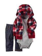 Carter's® 3-pc. Plaid Print Jacket & Jeans Set - Baby 0-18 Mos.