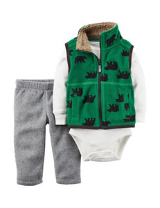 Carter's® 3-pc. Bear Print Vest & Pants Set - Baby 0-18 Mos.