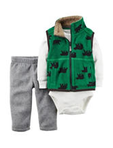 Carter's® 3-pc. Bear Print Vest & Pants Set - Baby 0-18 Mos.