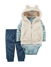 Carters® 3-pc. Hooded Sherpa Vest & Pants Set - Baby 0-18 Mos.