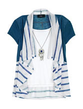 Amy Byer Stripe Cozy Necklace Top - Girls 7-16