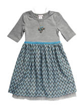 Youngland Chevron Knit Dress with Necklace – Girls 4-6x