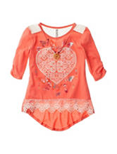 Beautees Heart Print Lace Hem Top with Necklace - Girls 7-16