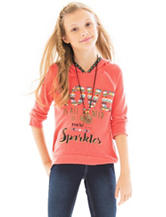 Beautees Love Hi-Lo Hoodie Top with Necklace - Girls 7-16