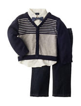 Nautica 3-pc. Bow Tie Shirt & Pants Set with Cardigan - Baby 12-24 Mos.