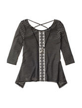 Beautees Stripe Print Shark Bite Top with Necklace - Girls 7-16