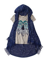 Self Esteem Owl Print Top & Hoodie with Necklace - Girls 7-16