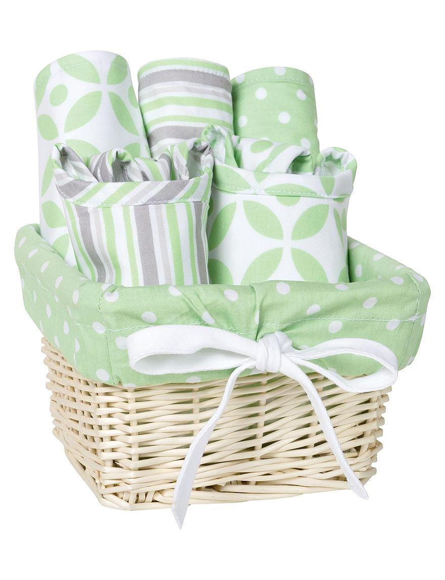 Trend Lab Green/Grey/White Bibs & Burp Cloths