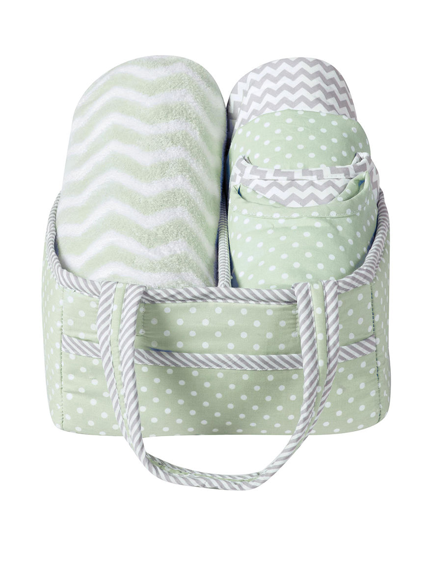 Trend Lab Green/Grey/White Bibs & Burp Cloths