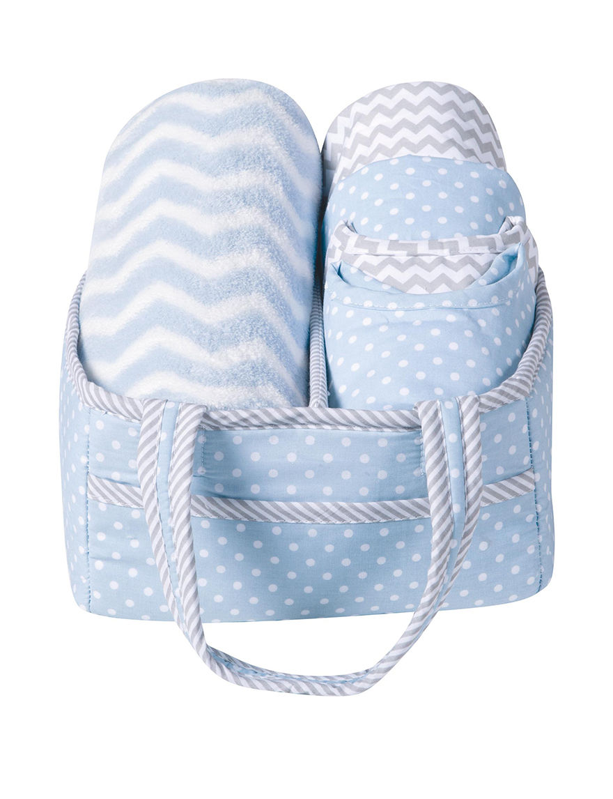 Trend Lab Blue/ White/ Grey Bibs & Burp Cloths