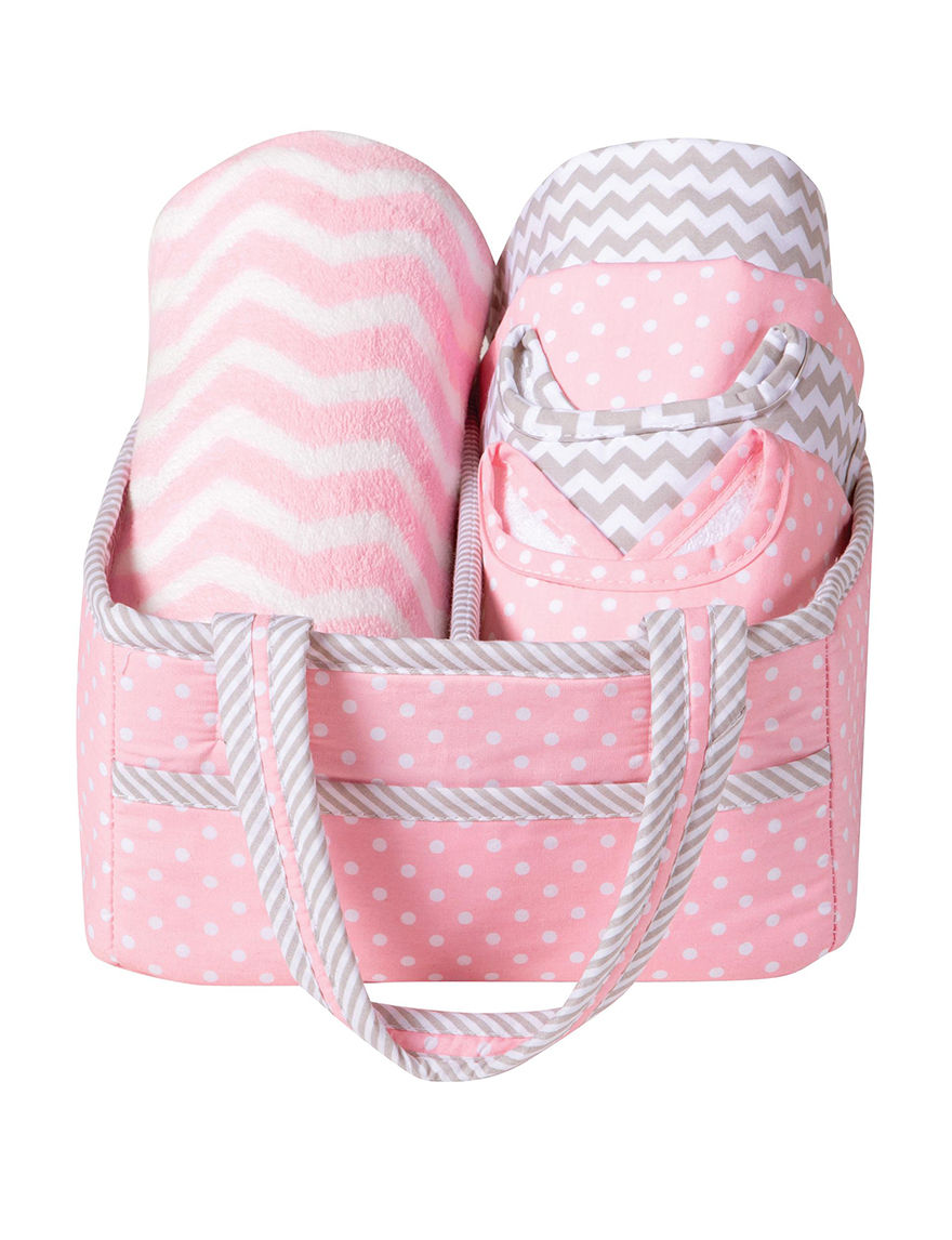 Trend Lab Pink/ White/ Grey Bibs & Burp Cloths