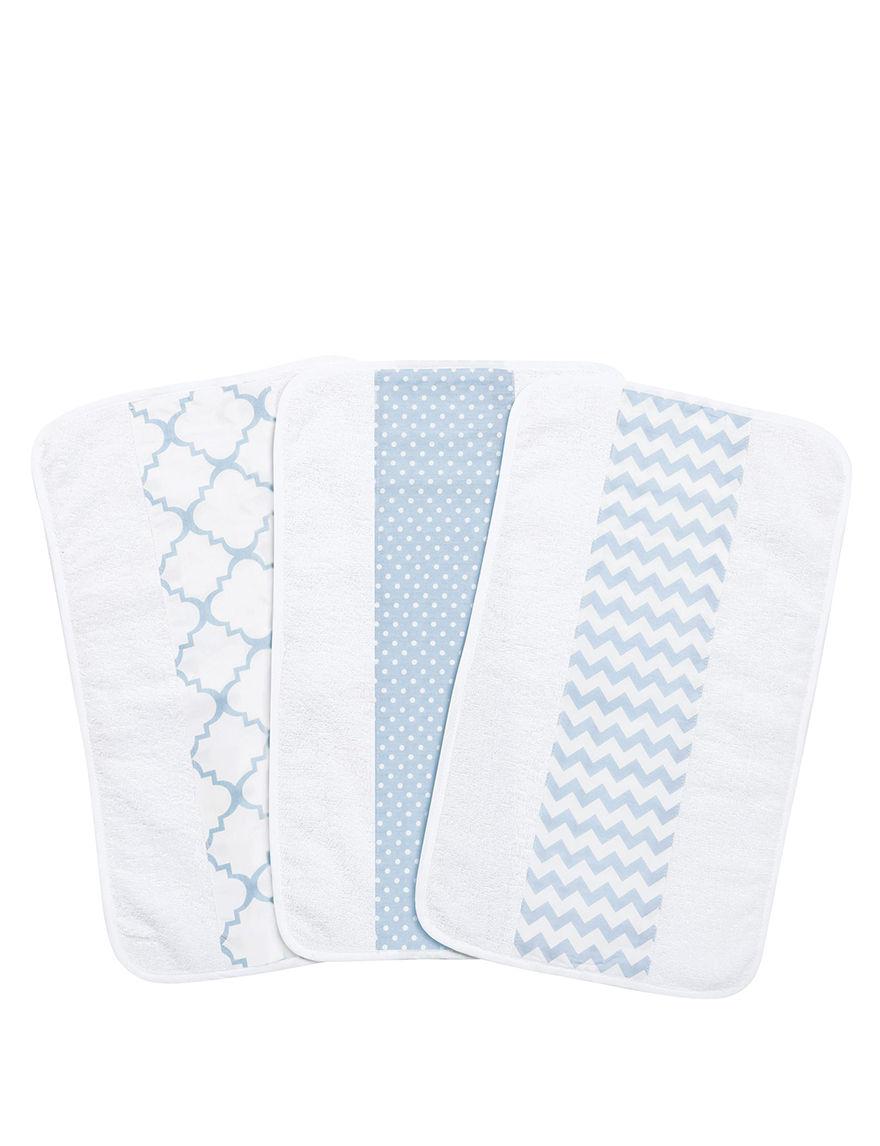 Trend Lab Blue / White Bibs & Burp Cloths