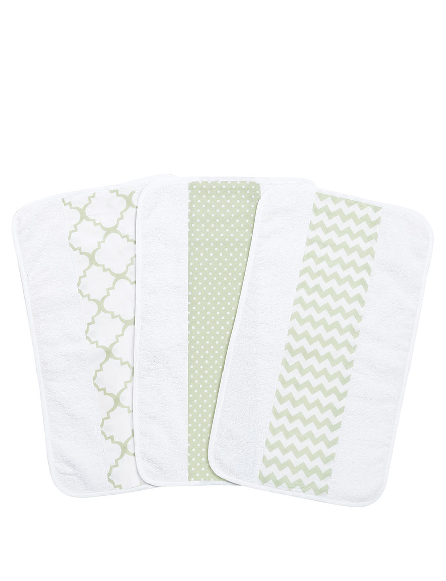 Trend Lab Green / White Bibs & Burp Cloths