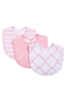 Trend Lab Pink / White Bibs & Burp Cloths